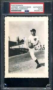 Johnny Vander Meer PSA DNA Coa Hand Signed 1940`s Original Photo Reds Autograph