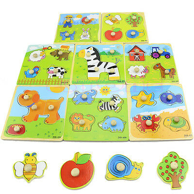 Adjustable Colorful 4 Shape Baby Kids Educational Brick Wooden Animal Puzzle Toy