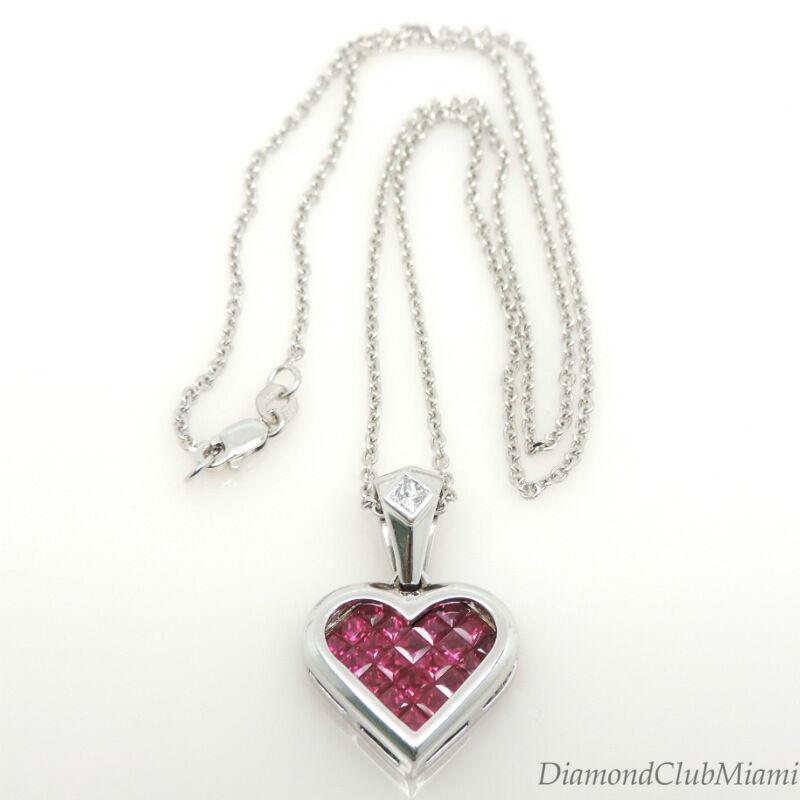 Modern  2.20ct Ruby Diamond 18K gold Heart Pendant  10.8 Grams