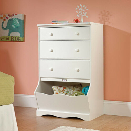 3 Drawer Chest Toy Box Bookcase Home Bedroom Storage Furniture Kids Wood  White