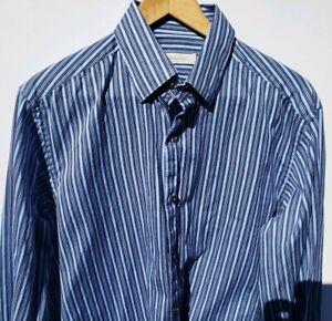 Ermenegildo-Zegna-Mens-Striped-Button-Down-Shirt-Size-Large-Blue-Black-White