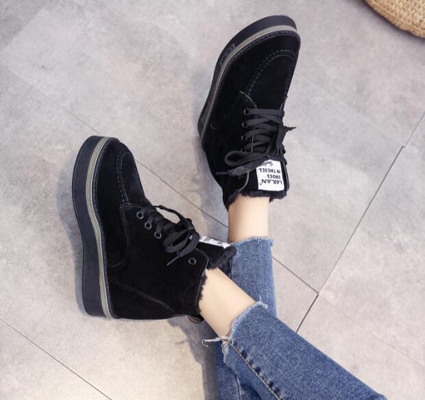 Womens High Top Sneakers Wedge Hidden High Heels Sneakers Casua; Running Warm T9