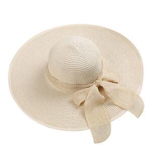 87f591be Beige Women's Floppy Wide Brim Summer Beach Straw Sun Hat Roll-up ...