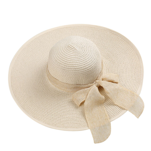 c5900fe3b6b Beige Women Foldable Bowknot Wide Brim Floppy Straw Sun Hat Summer Beach Cap
