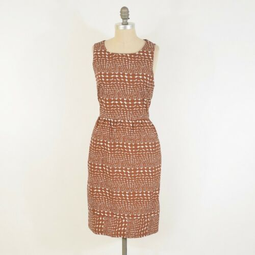 Whit Dress L Rust-Brown Dotty Print Patterned Cott