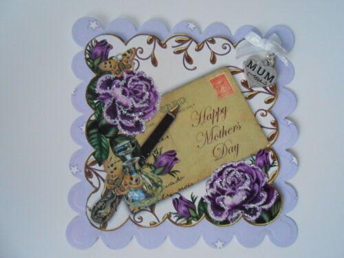 Lot de 2 magnifiques violet roses fête mères coeur maman charm toppers 4 cartes//artisanat