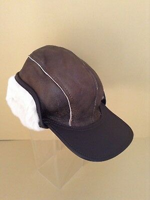 MENS GENUINE NAPPA SHEEPSKIN HAT/CAP (BROWN WITH CREAM FUR) - LARGE