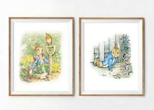 2 impresiones de vivero de Peter Rabbit Beatrix Potter de Arte para Decoración de Pared Fotos Bebé Regalo