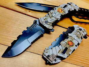 """9""""USMC MARINE CORPS Assisted Open Tactical Rescue Folding POCKET KNIFE SURVIVAL"""