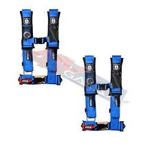 "Pro Armor 4 Point Harness 2"" Pads Seat Belts PAIR BLUE Polaris RZR XP 1000 Turbo"