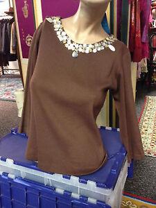 SOFT-SURROUNDINGS-brown-Beaded-Neckline-100-cotton-Sweater-NWOT-Sz-XS