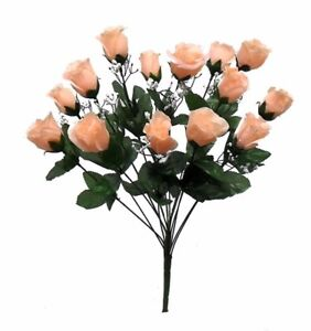 14 Roses PEACH Long Stem Silk Flower Bush Wedding Bridal Bouquet DIY