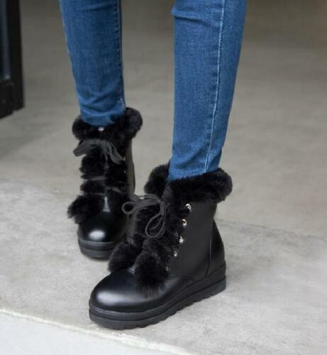 Women/'s Round Toe Wedge Hidden Heel Fur furry  lined Lace Up casual Ankle Boots