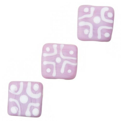Chunky Matte Pink Square Glass Beads 16x7mm Pack of 3 B104//9