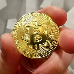 2021 Bitcoin Commemorative Coin Gold Plated Collectible Cryptocurrency Coin Gift