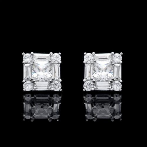 1.5CT Princess Baguette Round Created Diamond Stud Earrings 14K White Gold