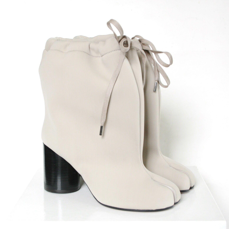 MAISON MARTIN MARGIELA split toe nude neoprene high heel shoes tabi boots 38 NEW