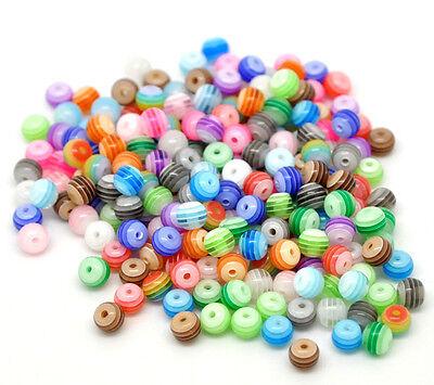 FL 500//1500//2500//5000 Mix Streifen Kugel Resin Harz Perlen Beads zum Basteln Neu
