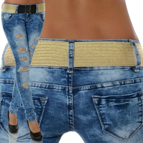 Damen Jeans Hose Skinny Hüftjeans Hüfthose Röhre Röhrenjeans Stretch inkl Gürtel