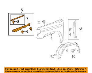 front fender main 53807-35120 Toyota Seal New Genuine OEM Part rh 5380735120