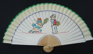 Vintage-Childrens-Fan-1940s-Toy-Printed-Wood-Hand-Fan-Boy-Girl-Playing-Tennis