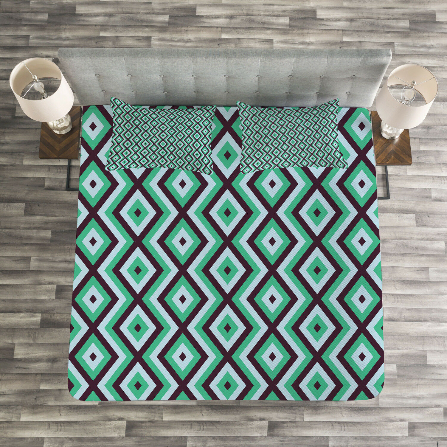 Teal and White Quilted Bedspread & Pillow Shams Set, Retro Diamond Line Print