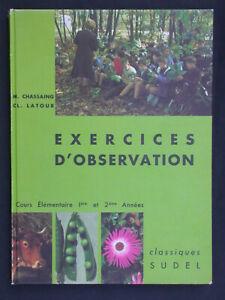 Exercices d'observation - Sciences naturelles CE1 éd. Sudel 1970 - Faune & Flore