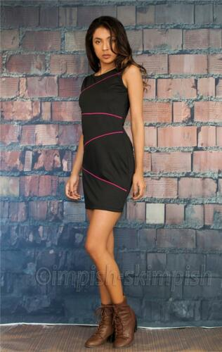 COPPER KEY Black with Hot Pink Piping Sleeveless Boat Neck Sheath Mini Dress