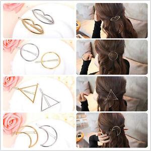 Fashion-Cute-Women-Gold-Silver-Metal-Geometry-Hairpin-Hair-Clip-Hair-Accessories