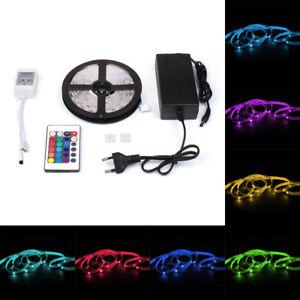 LED-Stripe-5050-SMD-RGB-Leiste-Streifen-Band-Lichtband-Fernbedienung-Netzteil
