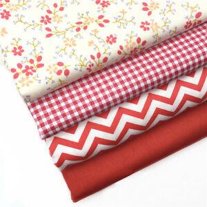 50-160CM-Rot-Blumen-Gitter-Stoff-100-Baumwoll-DIY-Naehen-Patchwork-Baby-Kleidung