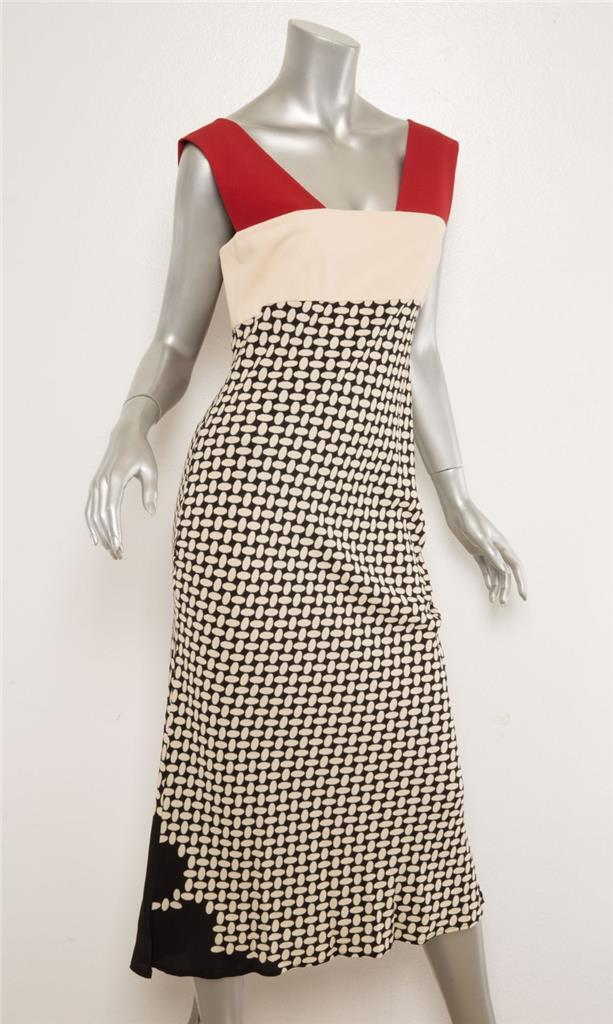 Jeans Paul Gaultier Creme Creme Creme Schwarz Rot Bedruckt Ärmellos Knopf Midi Kleid 8-44 9afb68