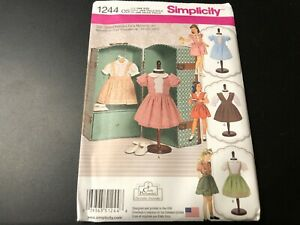 """Simplicity Pattern 1244 Vintage Styles Party /& Play Clothes  for 18/"""" Dolls doll"""