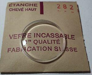 Verre-de-montre-suisse-bombe-plexi-diametre-282-Watch-crystal-vintage-NOS