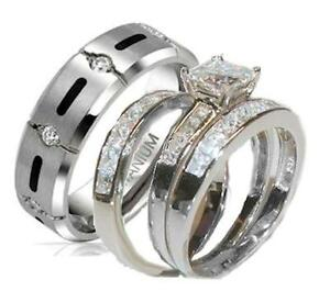 His-and-Hers-Wedding-Rings-4-Piece-Cz-Ring-Set-925-Sterling-Silver-amp-Titanium