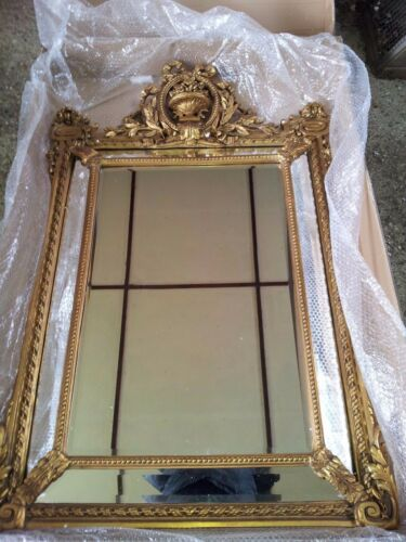 STUNNING ANTIQUE GOLD FRENCH EMPIRE REGENCY PIER ORNATE WALL MIRROR AUNTIES
