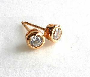 Small-STUD-EARRINGS-18K-GOLD-Plated-CZ-CUBIC-ZIRCONIA-Size-5mm-Adults-Kids-UK