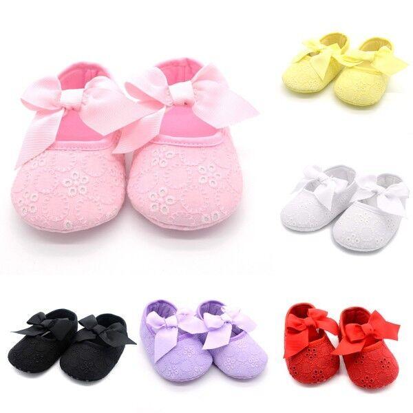 Kids Baby Girls Floral W/Bowknot Ribbon Soft Bottom Shoes Prewalker Size 0-18M