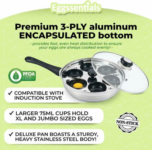 Poached Egg Maker cooker Nonstick Poaching Pan Cups Stainless Steel 6 Eggs