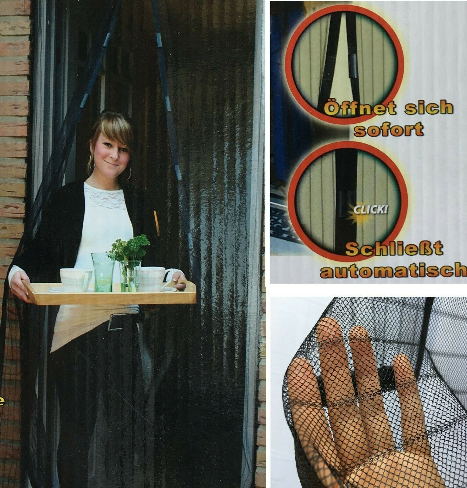 5 Fliegengitter 100 x 210 cm Magnetvorhang Insektenschutz Magnet Netz Balkontür