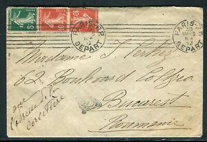 Enveloppe De Paris Pour La Roumanie En 1912 - Réf M127 Remises Vente