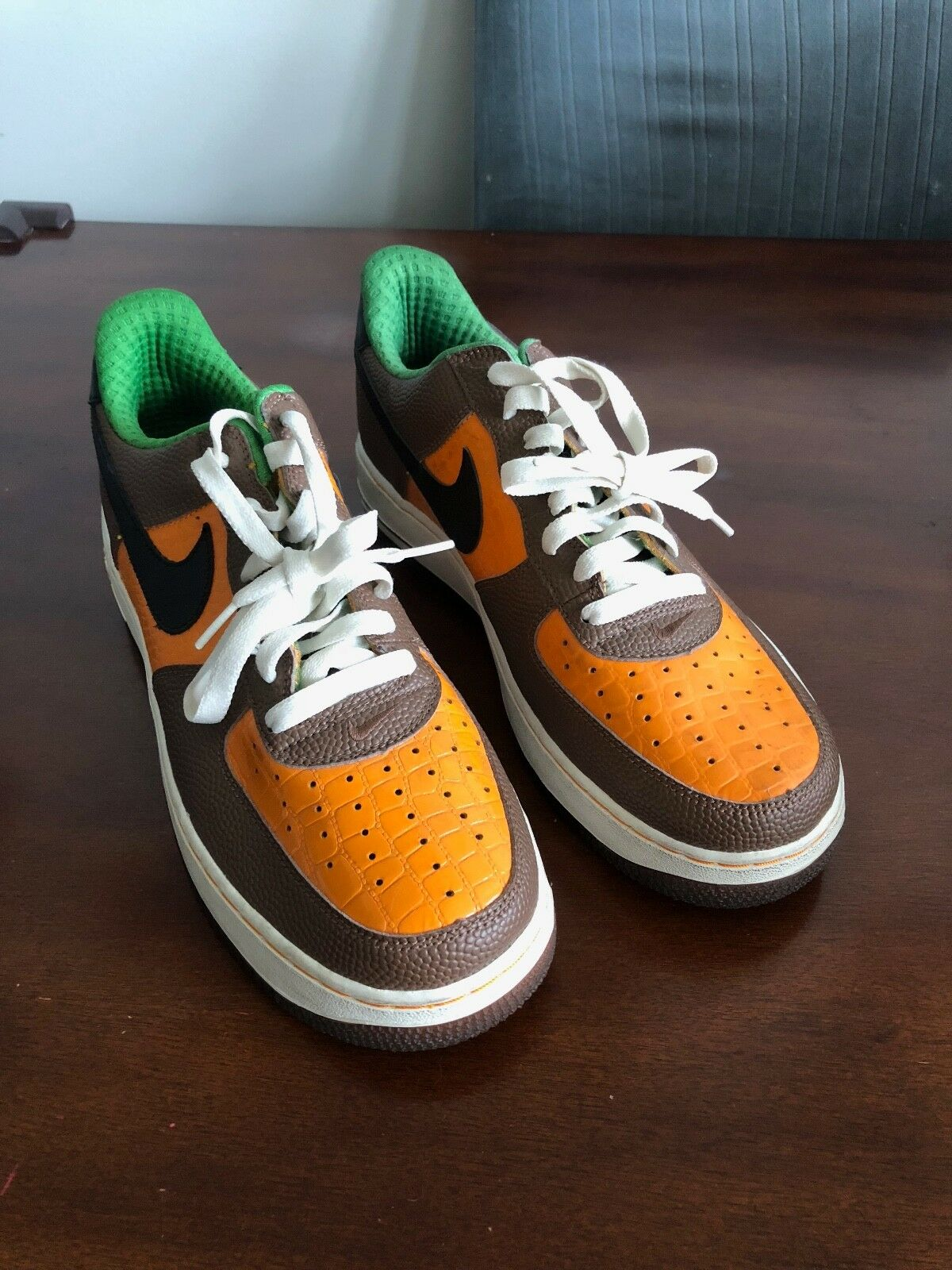 Nike Air Force 1 Premium Superbowl 2006 Size 10US 44EUR Orange/Brown Football