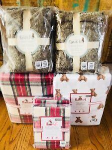 Pottery-Barn-Kids-Morgan-FULL-QUEEN-Duvet-Teddy-Bear-Sheet-Set-Shams-Christmas