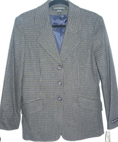 New Size 6 Women's Vintage DonnyBrook 100% Pure Wool Houndstooth Blazer