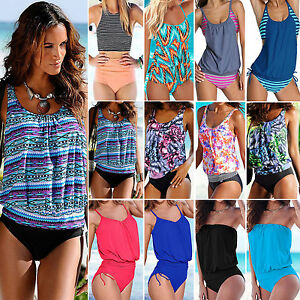 a22eb43642 Womens Tankini Set Swimwear Tank Tops Shorts Swimsuit Bikini Bathing ...