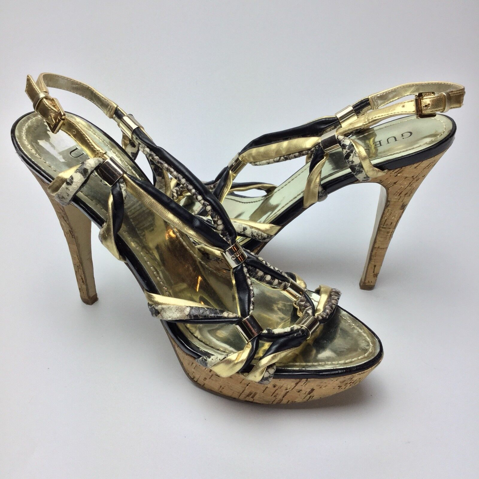 GUESS Knotted2 Platform Sandals Size 10M Pumps High Heels Cork Heel Strappy