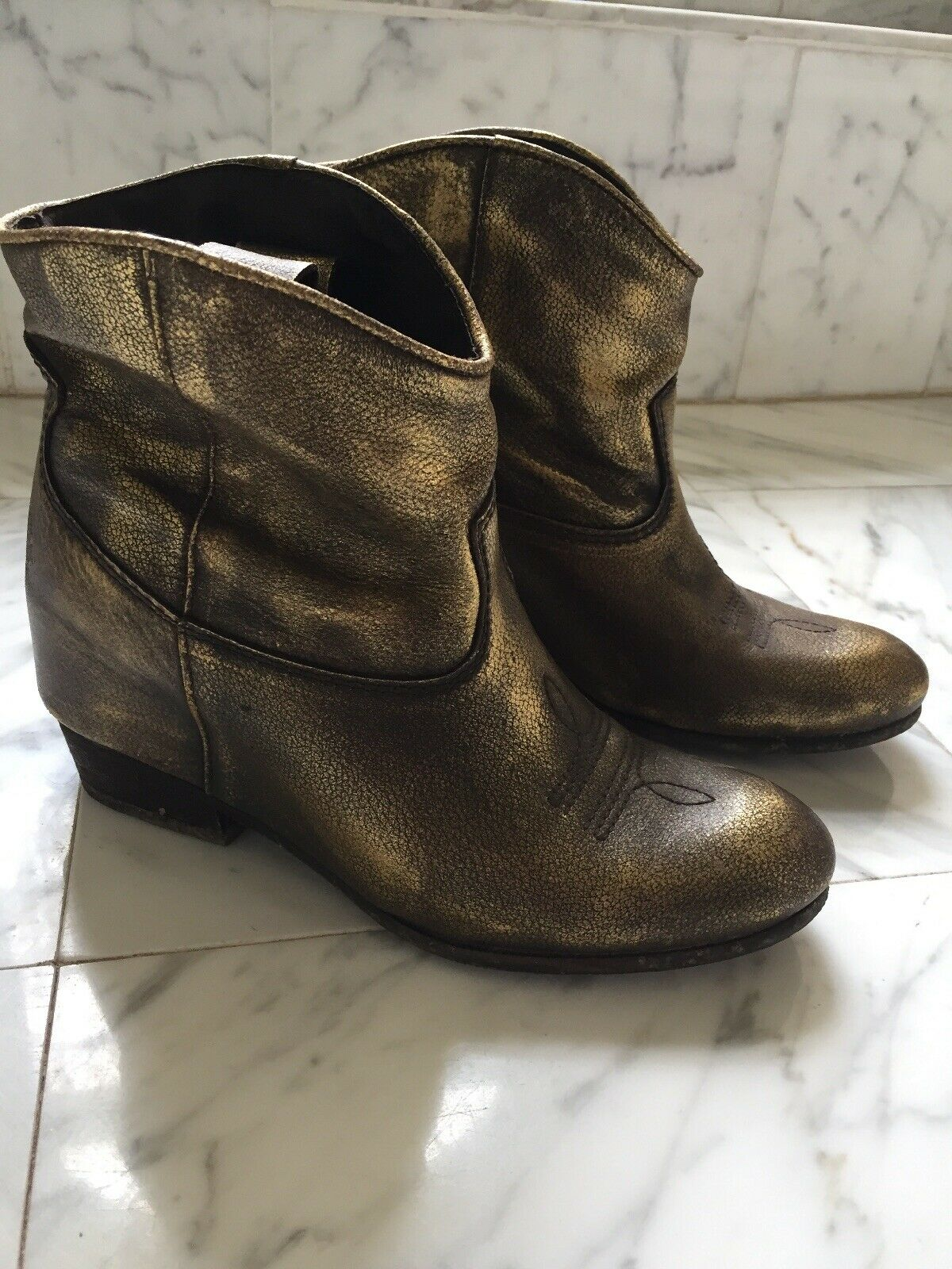 Felmini Hidden Wedge Booties gold Bronze Metallic Boho Leather Boots 37 US 7