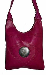 Genuine-Leather-Handbag-Purse-Moroccan-Women-Shoulder-Bag-Tooled-Leather-Magenta