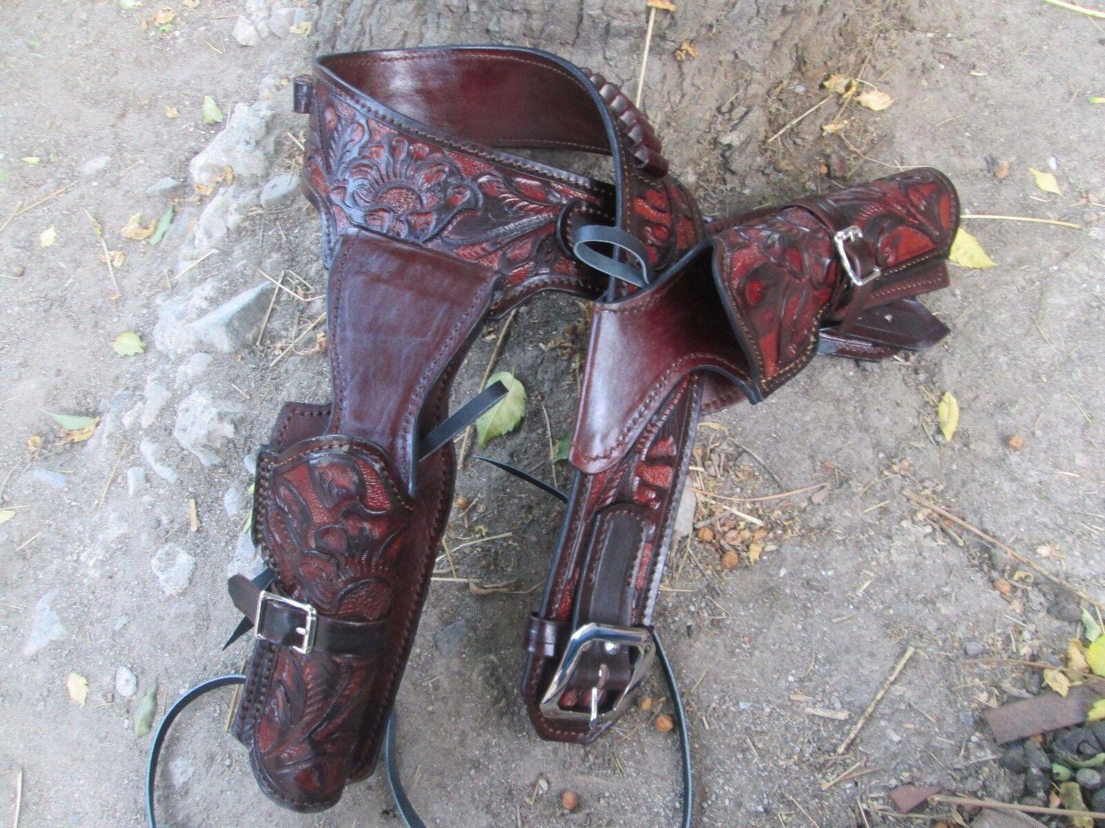 38 357 D. a.D Custom Leder Verziert Doppel Western Halfter Schnell Draw Braun