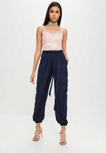 2a461e21e99307 Image is loading carli-bybel-x-missguided-navy-satin-cargo-pants-